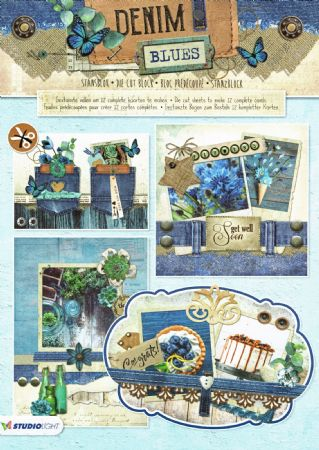 Denim Blues 3D Die Cut Decoupage A4 Block  By Studio Light
